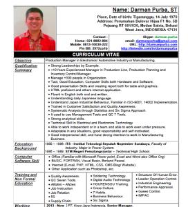 Contoh Daftar Riwayat Hidup – Curriculum Vitae (CV)